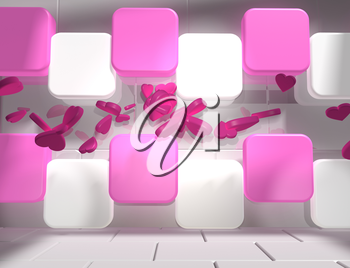 background relative to valentines day. Hearts icons between pink and white boxes in empty concrete room. 3D rendering