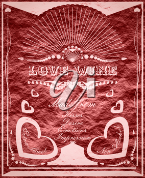 Vintage vertical banner with love drink label. Fantasy wine  label for Valentines Day fun.