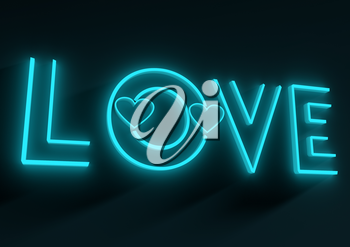 San Valentine card with neon shine LOVE word in 3D effect. Glowing letters. Outline text
