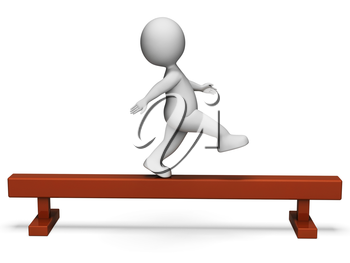 Balance Beam Showing Get Fit And Render 3d Rendering