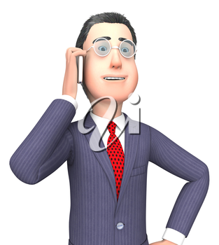 Character Businessman Indicating Entrepreneurs Discussion And Message 3d Rendering