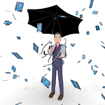 Credit Card Indicating Business Person And Businessman 3d Rendering