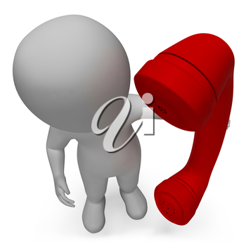 Talking Character Showing Phone Call And Communication 3d Rendering