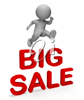 Big Sale Meaning Savings Clearance And Character 3d Rendering