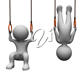 Exercise Gym Showing Getting Fit And Rope 3d Rendering