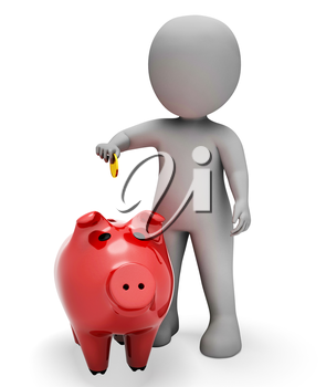 Piggybank Save Representing Finances Saved And Prosperity 3d Rendering