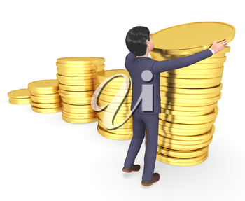 Money Businessman Showing Character Finance And Saved 3d Rendering