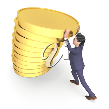 Money Coins Showing Business Person And Rich 3d Rendering