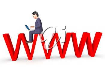 Character Businessman Indicating World Wide Web And Website 3d Rendering