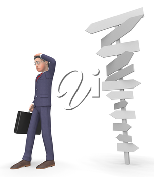 Character Signposts Indicating Business Confused And Decision 3d Rendering