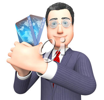 Debit Card Showing Business Person And Finances 3d Rendering