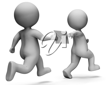 Relay Character Indicating Passing The Baton And Deliver 3d Rendering