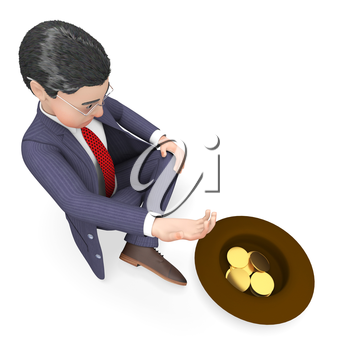 Begging Character Meaning Business Person And Prosperity 3d Rendering
