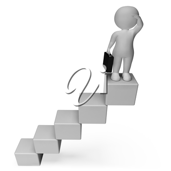 Stairs Character Indicating Business Person And Improvement 3d Rendering
