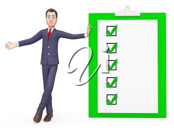 Check Marks Representing Clip Board And Executive 3d Rendering