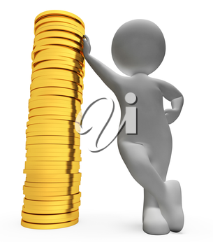 Finance Character Showing Investment Coins And Bank 3d Rendering