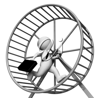 Hamster Wheel Meaning Business Person And Burdensome 3d Rendering