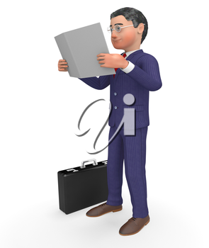 Businessman Character Indicating Progress Report And Analysis 3d Rendering