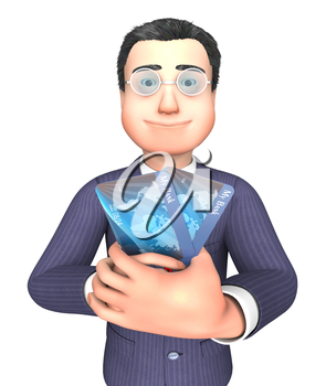 Debit Card Indicating Business Person And Shopping 3d Rendering