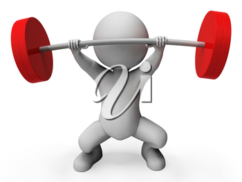 Weight Lifting Meaning Bar Bell And Exercising 3d Rendering
