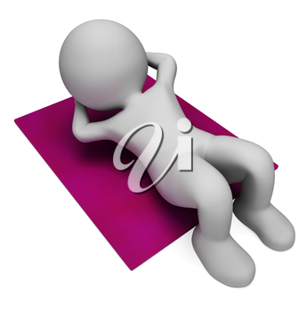Sit Ups Showing Working Out And Exercise 3d Rendering