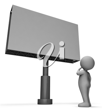 Character Message Indicating Text Space And Placard 3d Rendering