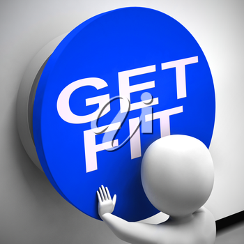 Get fit button for starting physical exercise and training. Full workout to become fit and healthy - 3d illustration