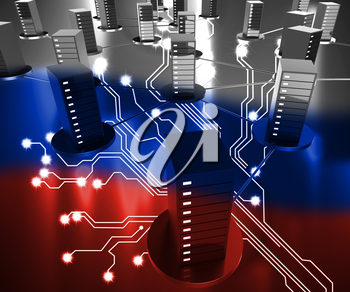 Russia Data Center Showing Hacking 3d Illustration
