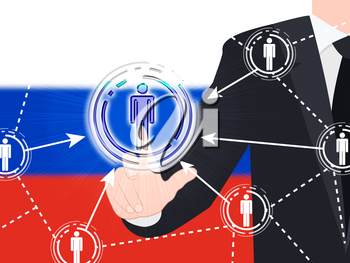 Russian Flag Social Media Button Pressed 3d Illustration