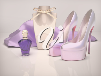 perfume bottle and purple louboutins