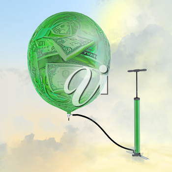 The pump, the balloon with the image of money.