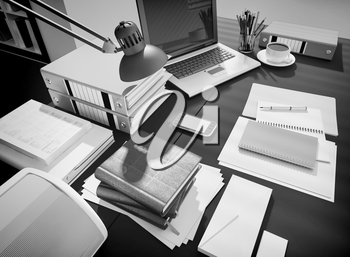 Wooden table with office supplies and coffee.3D rendering