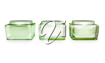 Closeup of jar of moisturizing face  beauty creams isolated on a white background.