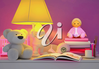 Children's toys, books, colored pencils, alarm clock, the lamp, milk in a glass are located on a table.