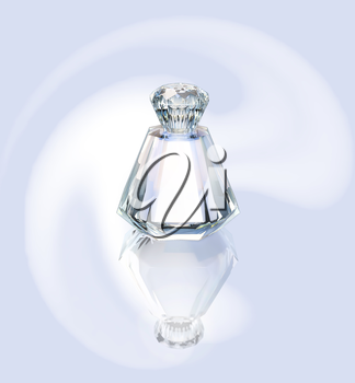 Perfume in a glass bottle on a silvery background.