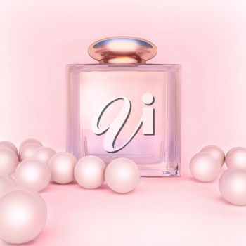 Perfume in a glass bottles and pearl beeds on pink.