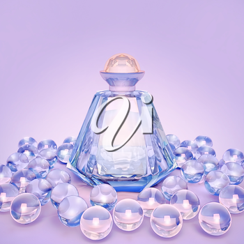 Perfume in a glass bottles and pearl beeds on lilac.
