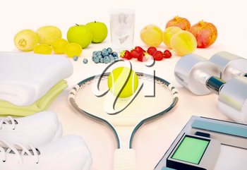 Fitness concept with fresh fruits, water, towels, sneakers, tennis racket, weights and dumbbells.