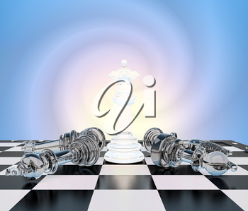 The chess white queen on a chessboard, other chess  lie.Concept, victory of the queen.Your performance, queen!