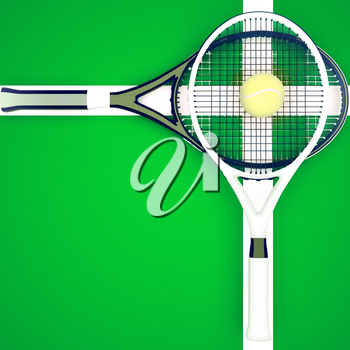 Tennis rackets and ball are located on green court. 3D illustration