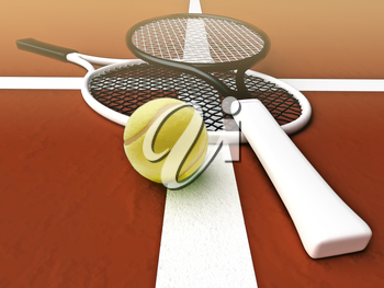 Tennis; rackets; sphere; court; game; ground.