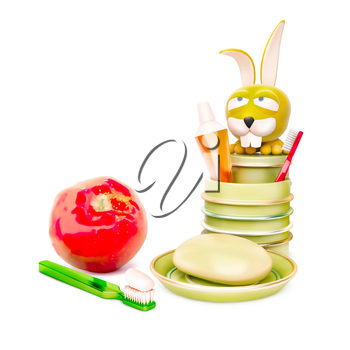 morning hygiene kids and red apple  isolated on white