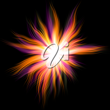 Colorful explosion rays on a black background. Abstract illustration.