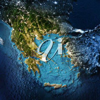 Greece and west Turkey. Elements of this image furnished by NASA. 3D rendering