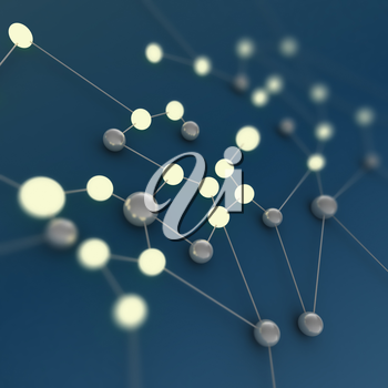 Neon network. 3d rendering image connection background
