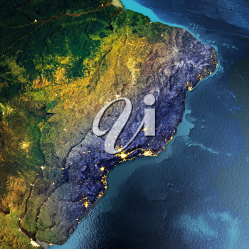 South America, Brazil, Argentina. Elements of this image furnished by NASA. 3D rendering
