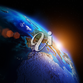 Planet night map. Elements of this image furnished by NASA 3d rendering