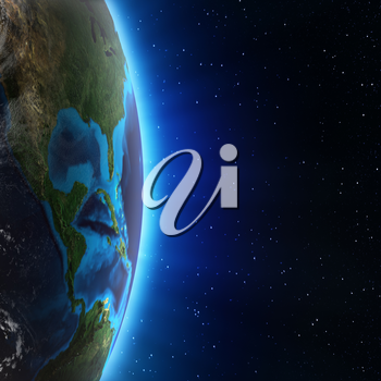 Central America and USA. Elements of this image furnished by NASA 3d rendering