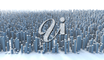 Abstract and generic 3d simple city blocks buildings skyscrapers skyline landscape.