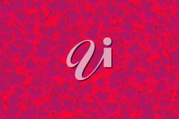 Valentine's Day abstract 3D background pattern with radiant, glowing and shining red and pink hearts.